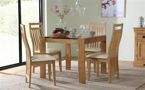 small dining room furniture. Tate Oak And Glass Square Dining Table - With 4 Bali Chairs (Ivory Seat Pad Small Room Furniture C