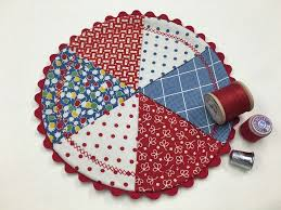 Mug Rug Patterns New Round Red White And Blue Quilted Mug Rug