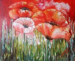digital print flowers red poppies wall art print red flower painting