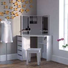 Image is loading Modern-Corner-Dressing-Table-Unit-Vanity-Mirror-White-