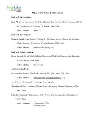 Examples Of Work Cited Mla Works Cited List Examples