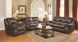 Leather Reclining Living Room Sets Coaster Sir Rawlinson Traditional Reclining Sofa With Nailhead