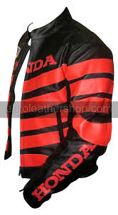 black colour honda motorcycle racing leather jacke