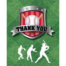 Baseball Party Thank You Notes