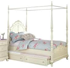 Twin Size Canopy Bed With Trundle Frame Interesting Full Home Improvemen