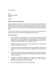 Standard Letter Management Representation Letter Sample Public Limited Listed Compani