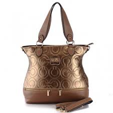 Coach Hamptons In Printed Signature Large Brass Totes 379