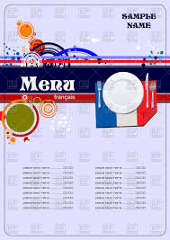 french menu template french menu template with plate and serviette as flag of france