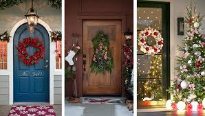 Front porches decorated for Christmas.