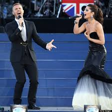 gary barlow from take that and cheryl cole sing and dance at the diamond jubilee concert