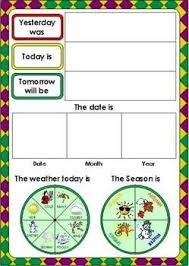 Days Of The Week Chart Days Of The Week And Weather Chart Teach English To Kids
