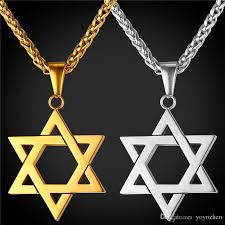 whole star of david pendant for women men jewelry 18k real gold plated stainless steel magen david necklace pendant flower pendant necklace glass