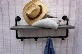 Black Pipe Coat Rack Wall Mounted Coat Racks With Shelf Foter 96