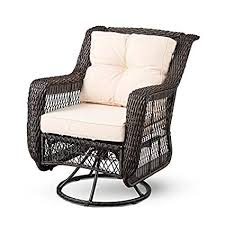 espresso brown wicker swivel glider patio chair with beige cushion set outdoor deep seat patio lounge