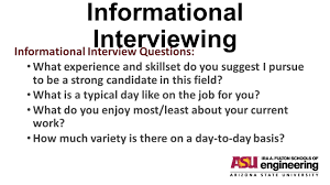 Informational Interviewing Before You View This Powerpoint Go To