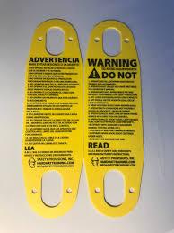 hard hat training pendant warning tag