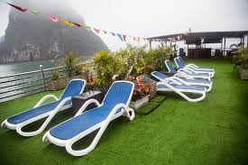 lounge chairs on deck of luxury cruise ship stock photo image of blue