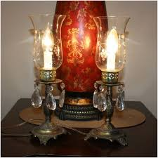 pair of brass mantle lamps with crystal prisms crystal glass shades 12 1