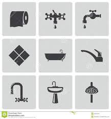 Vector Black Bathroom Icons Set Stock Vector Image 36263441