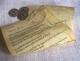 Scroll Birthday Invitations Pirate Birthday Invitation Sailship And Compass Linen Fabric