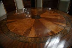Inlaid Dining Table Large Round Dining Table Seats 10 Round Glass Table View Original