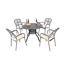 cast aluminium brompton 106cm round table with 4