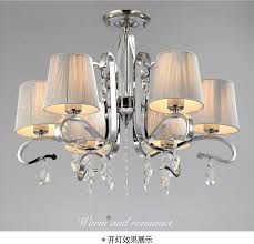 exquisite multiple chandelier fabric shade glass crystalwhite