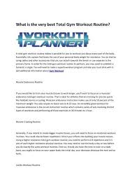 Full Gym Workout Chart Gym Workout Routines