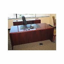 used executive dark cherry wood desk credenza set