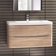 Light Oak Bathroom Furniture 900 X 500mm Modern Oak Bathroom Vanity Unit Stone Counter Top