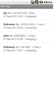 Android Call Logs Code Sample