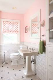 blue and pink bathroom designs. Pink Tile And Unsightly Floral Wallpaper Were Replaced With Fresh Blue Beaded Board White Paint. See The Complete Makeover On Elvente. Bathroom Designs