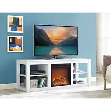 parsons electric fireplace tv stand and deluxe desk bundle white
