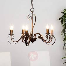 5 light rust coloured chandelier caleb 9620530 01