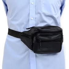 alltopbargains leather pack adjustable waist bag mens womens hip purse travel pouch black com