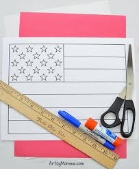 Colouring flags, printable flags, bookmarks, worksheets and more for the us flag. Printable American Flag Craft Project Easy 3d Paper Art For Kids