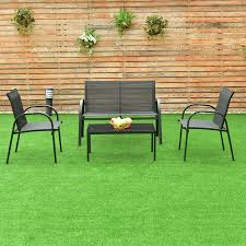 CASAINC Black <b>4 Pcs</b> Patio Furniture Set with Glass Top <b>Coffee Table</b>