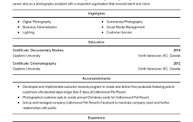 Enchanting Professional Photographer Resume Gift Documentation