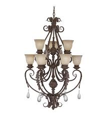 designers fountain san mateo 9 light chandelier in ancient oak es9149 ao photo