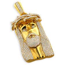 hip hop jewelry diamond piece face pendant 10k gold 11 3ct main image