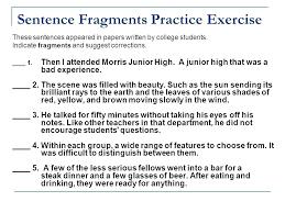Sentence Fragments Identifying Sentence Fragments Practice B Worksheet 6 Answer Key