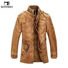 kenntrice mens winter leather jacket faux fur coat brand luxury fashion thicken warm long trench pu men sheepskin coat c18112201 coat jacket mens leather