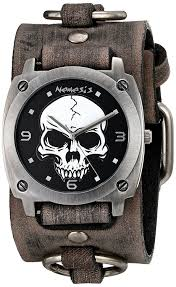 men watches awesome skulls nemesis men s 926frb heavy duty skull series analog display ese quartz grey watch