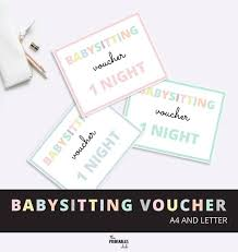 babysitting gift certificate template free babysitting voucher babysitting gift voucher mothers day etsy