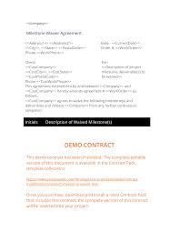 how to write my milestone waiver agreement doent