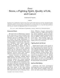 essay stress a fighting spirit quality of life and cancer pdf  essay stress a fighting spirit quality of life and cancer pdf available