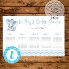 Editable 24x36 Baby Shower Seating Chart Instant Download