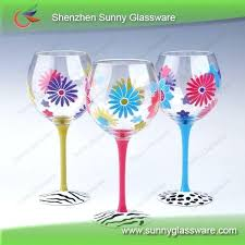 decorated wine glasses for birthday unique design hot hand painted glass 21st