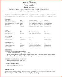Free Acting Resume Template Print Acting Resume Template For Microsoft Word Free Acting Resume 66