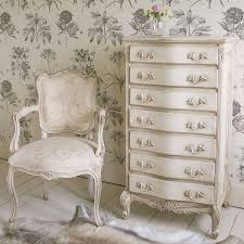 Shabby Chic French Bedroom Furniture Delphine Distressed Shabby Chic White Tallboy Chest